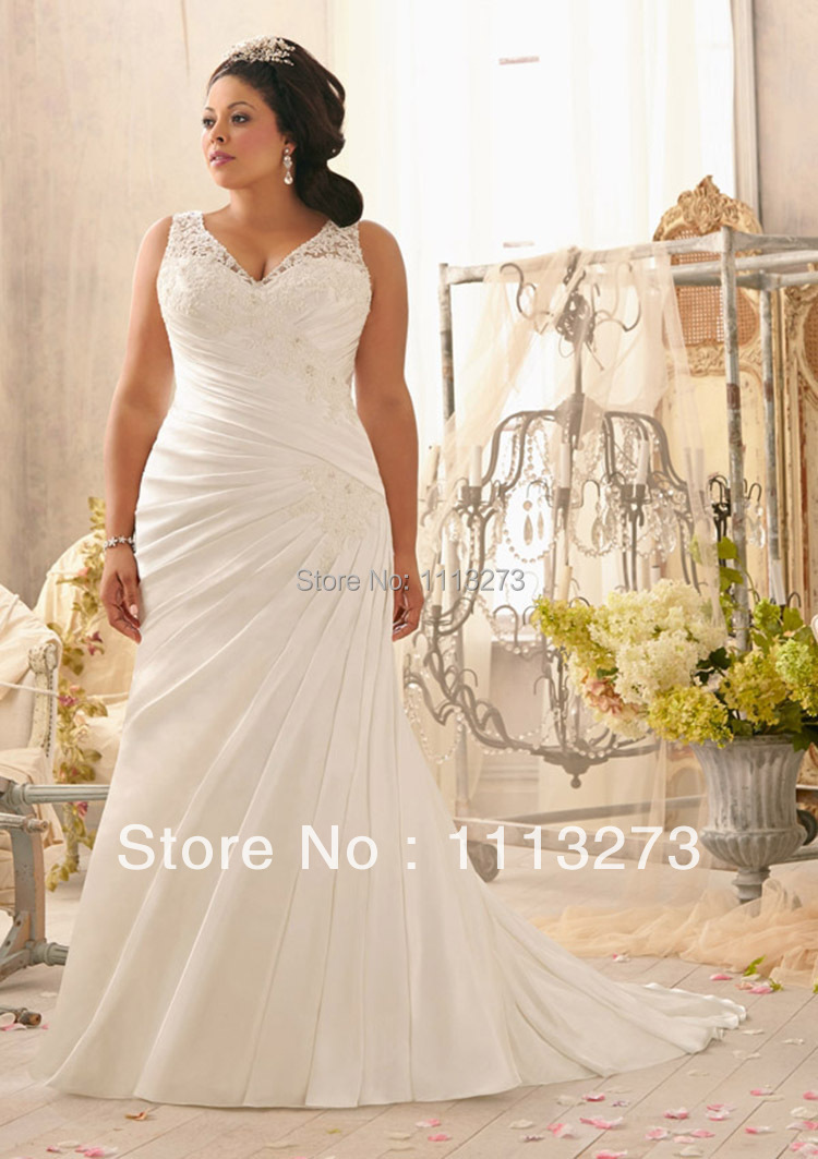 Elegant off white deep v neck lace mermaid wedding gown for big elegant off white deep v neck lace mermaid wedding gown for big women wq101 in wedding dresses from weddings events on aliexpress alibaba group ombrellifo Images