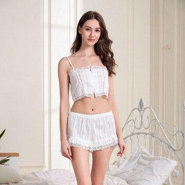 Daeyard Women's Pajamas Cotton Summer Pijama Sexy Lace Trim Cami And Shorts Ladies' 2Pcs Nightwear Casual Home Pj Set Sleepwear