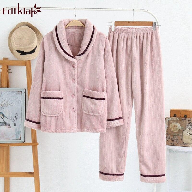 Fdfklak flanelle chaud pyjamas femmes hiver pyjamas ensemble épais couple vêtements de nuit pyjama à manches longues maison vêtements pijama costume