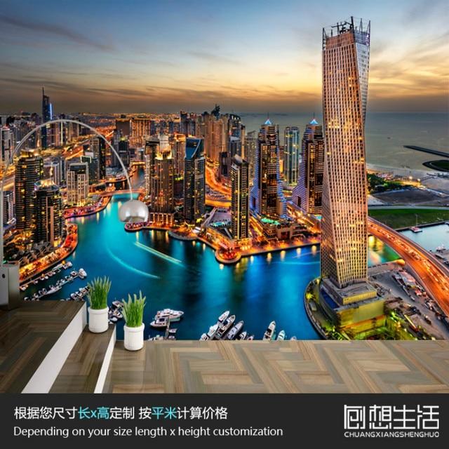 Dubai City Night Scene 3d Wallpaper For Wall 3d Photo Mural