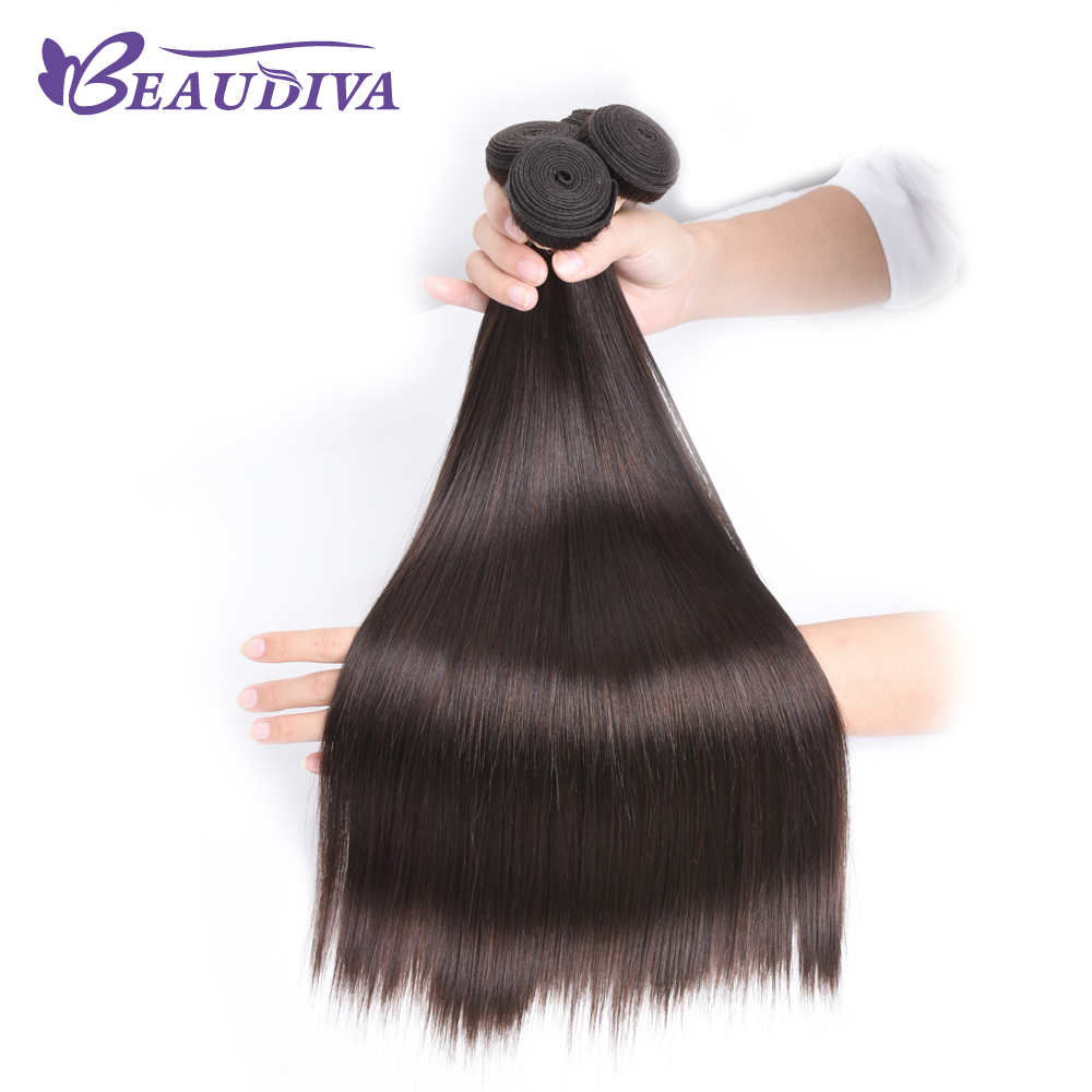BEAUDIVA #1 #2 #4 Natural Color Straight Remy Brazilian Hair Weave Bundles 3/4 Pcs Human Hair Extensions 95Gram Free Shipping