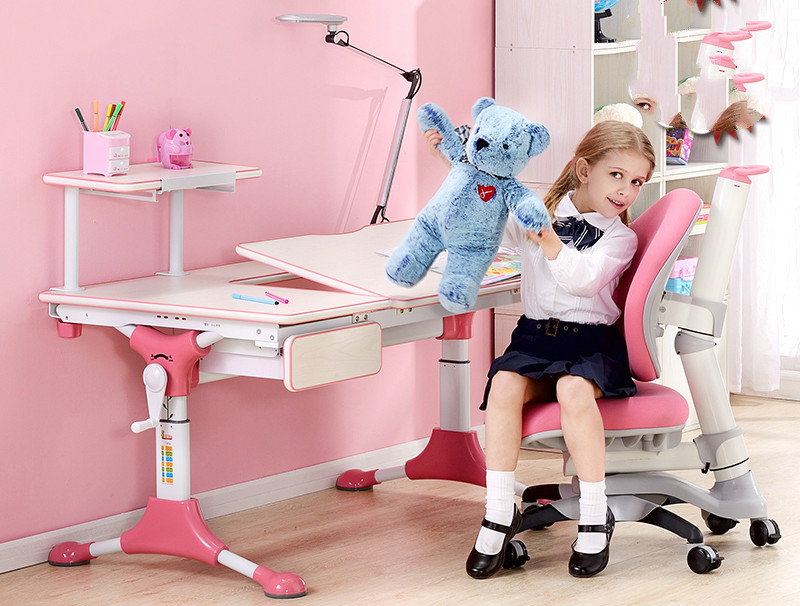 Children learning desk and chair set liftable kids writing desk купить