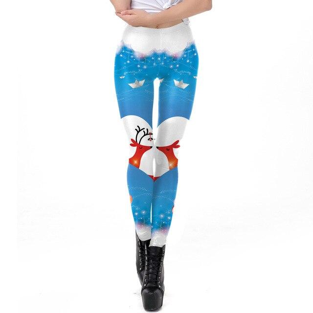 9e32307017 2018 Christmas Deer Heart 3D Printed Slim Fitness Leggings Women  LegginsHigh Waist Push Up Legging Autumn