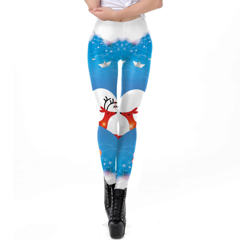 e99868a771624 2018 Christmas Heart Print Fitness Leggings Women Blue Color Sexy Slim  Leggings High Waist Elastic Leggings
