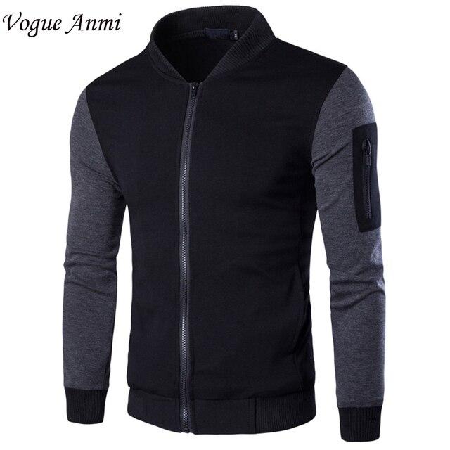 2016 New Designer Man Casual Slim Fit  Bomber Jacket Size M-3XL College Autumn Spring Fashion Men Wind Hoodies Coats