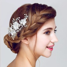 Dower me Lace Floral Wedding Accessories Bridal Hair Clip Comb Handmade Women Jewelry Crystal Pearl Headpiece Clips