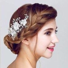 Dote me Encaje Floral Accesorios de La Boda Nupcial Peine Del Pelo Del Clip Mujeres Hechas A Mano de Perlas de Cristal de Joyería Tocado Clips