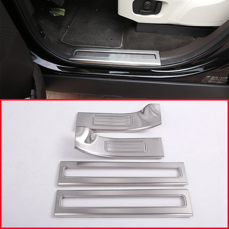 Stainless Steel Inside Door Sill Scuff Threshold Protector Plate For Land Rover Discovery 5 2017 Car Accessories Styling 4pcs for land rover range rover sport stainless inside door sill scuff plate 2014 2017 4pcs silver black