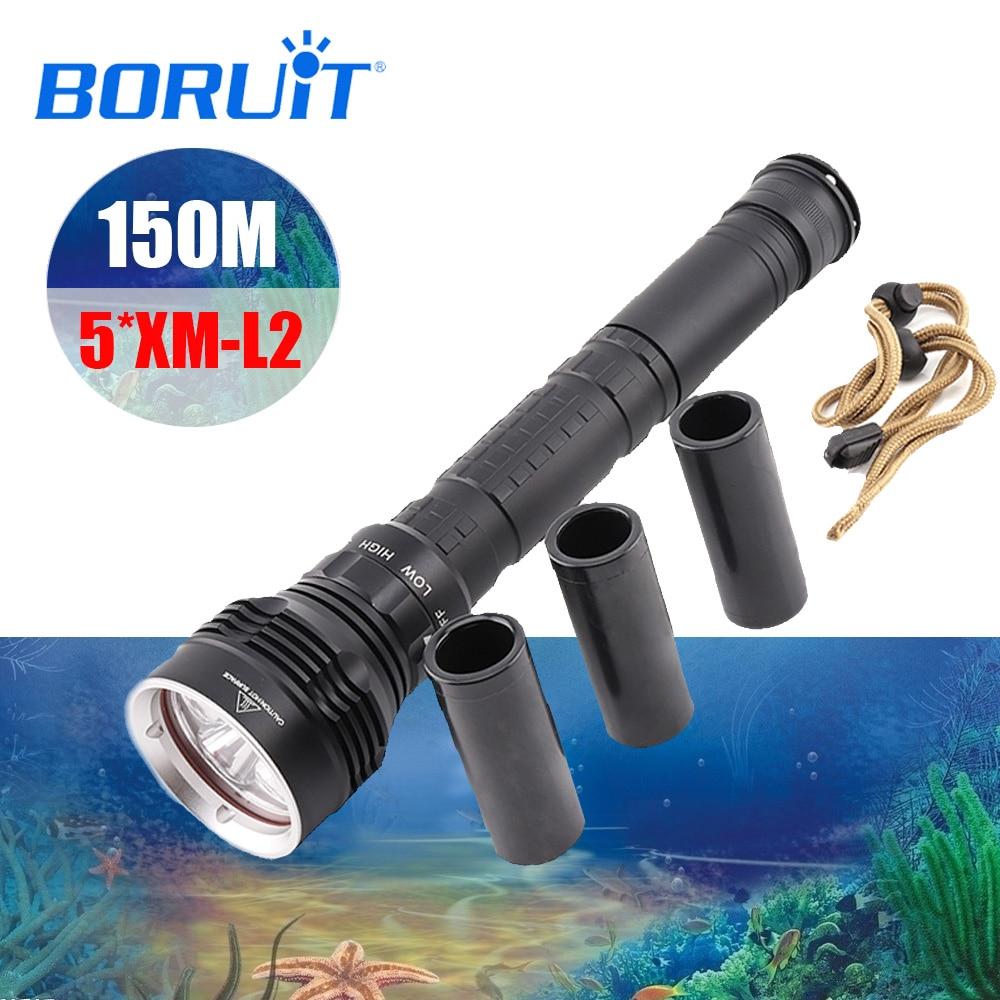 BORUIT 50 w 12000Lm Potente 5xXM-L2 ricaricabile A LED Immersione Subacquea della Torcia Elettrica 100 m Diver Flash Light Continuo Dimming Impermeabile Della Torcia