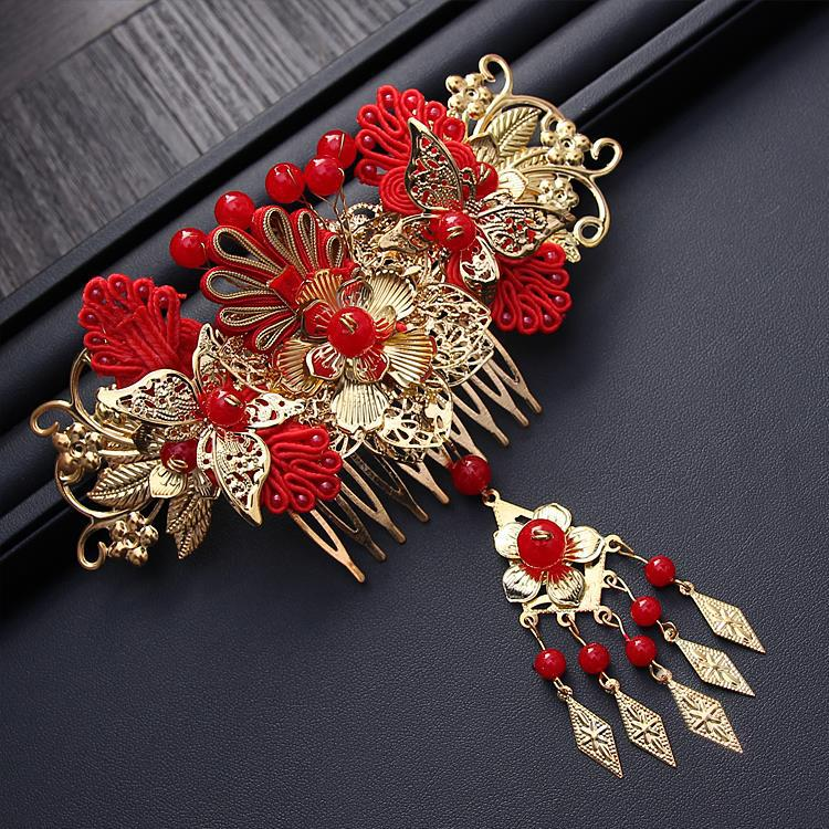 HIMSTORY Handmade Long Tassel Vintage Brides Hair Accessories Chinese Classical Wedding Headdress Jewelry Hair Combs Hairwear