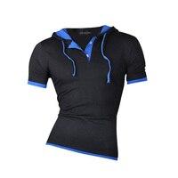 Mens New Summer Dress Short Sleeve Casual Soild Hoodie T Shirt Slim Fit T Shirt Trend