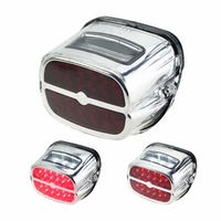 Motorcycle Chrome LED Brake Stop Tail Light Red Light License Plate Lamp White Light For Harley Fatboy Softail FLHT XL