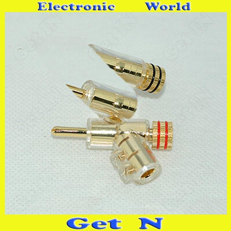 5pcs Gaofei Audiophile Banana Connectors Gold Plated Gun Type Banana Plug/Jack Speaker Amplifier Banana Socket 2mm gold plated socket jack solder type 2mm fabricated banana socket pa