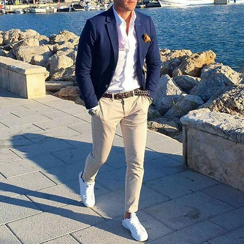 Latest Coat Pants Navy Blue Business Men Suits For Wedding Groom Tuxedo 2Piece Slim Terno Masculino Costume Homme Man Blazers