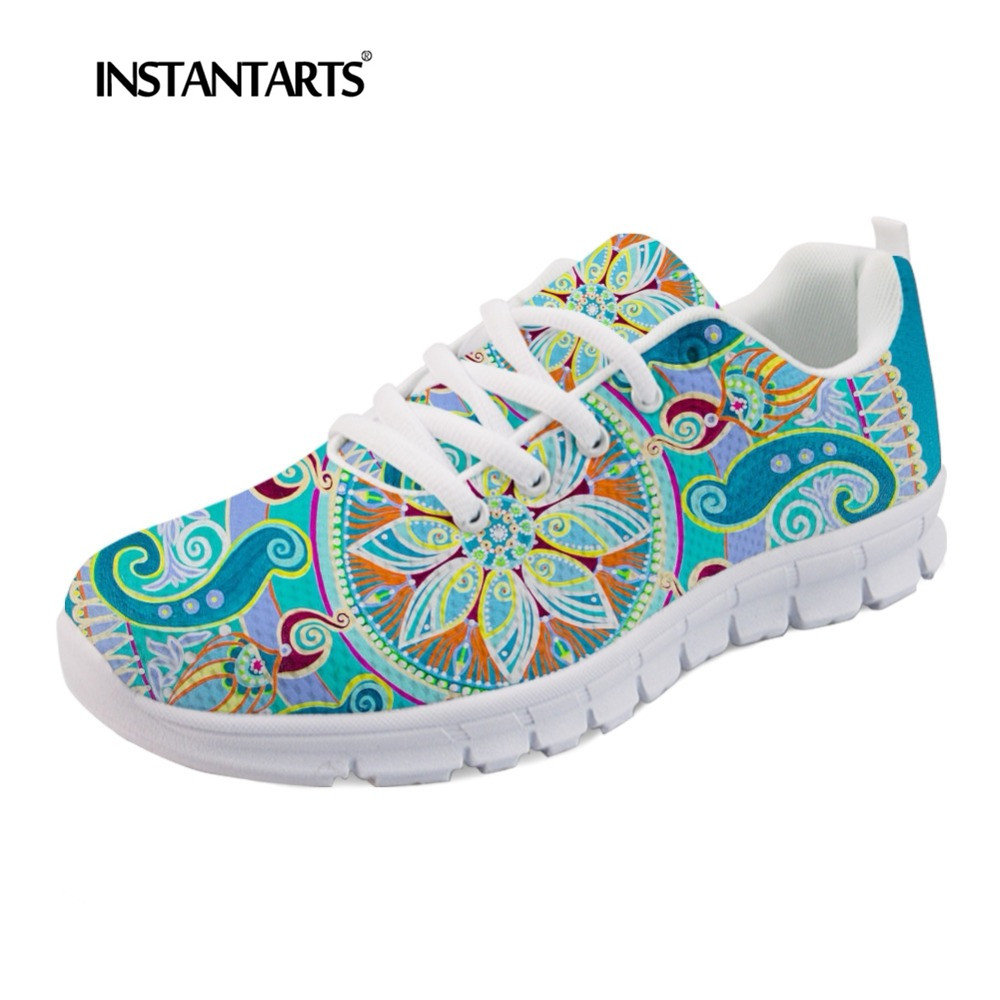INSTANTARTS Indian Mandala Floral Flats Shoes Women Casual Sneakers Shoes Tenis Feminino 3D Print Lightweight Lacing Mesh Flats свитшот print bar mandala