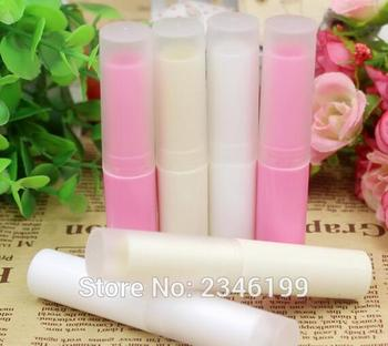 4G Lip Balm Tube Empty Cosmetics Lipstick Pink White Beige Color Lip Gloss Packing Bottle, DIY Lipstick Tube, 100pcs/lot