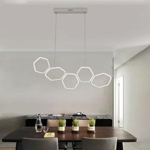 Image 4 - NEO זוהר מינימליזם מודרני LED נברשת עבור אוכל מטבח חדר סלון לבן או קפה צבע תליית נברשת גופי