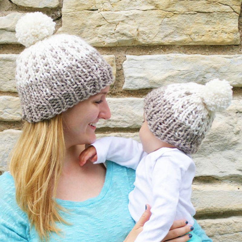 ᐂMamá y Bebé Lindo Caliente del Invierno Hizo Punto el Sombrero ...
