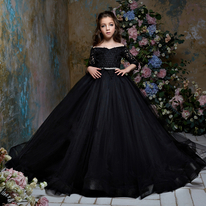 New Arrivals Flower Girls 3/4 Sleeves Lace Appliques Off the Shoulder Ball Gown Elegant Girls Birthday Party Princess Dresses blue lace details off shoulder lantern sleeves blouse