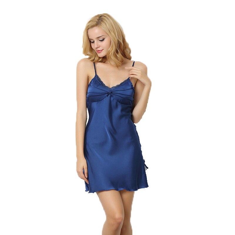 Nachtjapon Sleep Dress For Women Free Shipping Suspenders Mini Nightwear Nachtmode Silk Satin Lace   Nightgowns     Sleepshirt   Hot