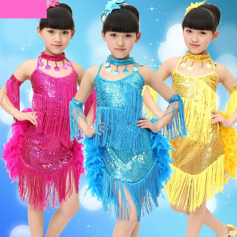 Girls Latin Dance Dress  Kids Dance Tutu Children Costumes Samba Ballroom Dance Dress Costume Clothing