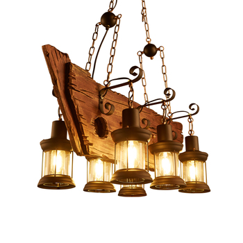wongshi Retro LOFT American country Solid Wood Pendant Light Vintage Glass Cover Lantern Cafe Clothing Store Pendant Lamp