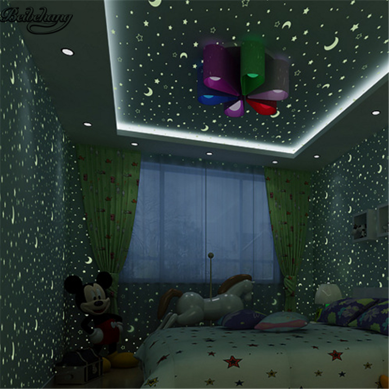 Us 32 48 44 Off Beibehang Personality Authentic Osson Long Fiber Nonwovens Wallpaper Moon Star Child Bedroom Luminous Wallpaper In Wallpapers From