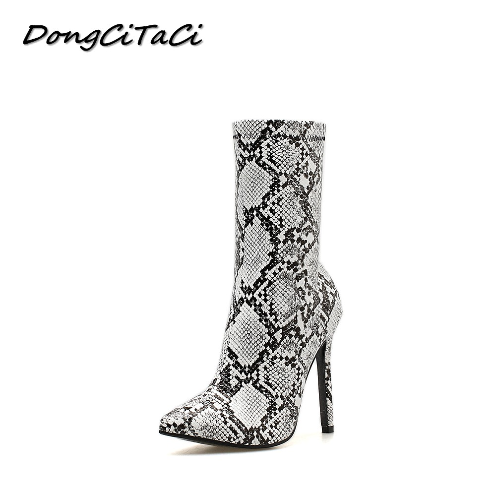 DongCiTaCi Autumn Women Ankle Boots Shoes Woman Wedding Party High Heel Pumps Female Snake pattern Leather Short Bootie 35-42DongCiTaCi Autumn Women Ankle Boots Shoes Woman Wedding Party High Heel Pumps Female Snake pattern Leather Short Bootie 35-42