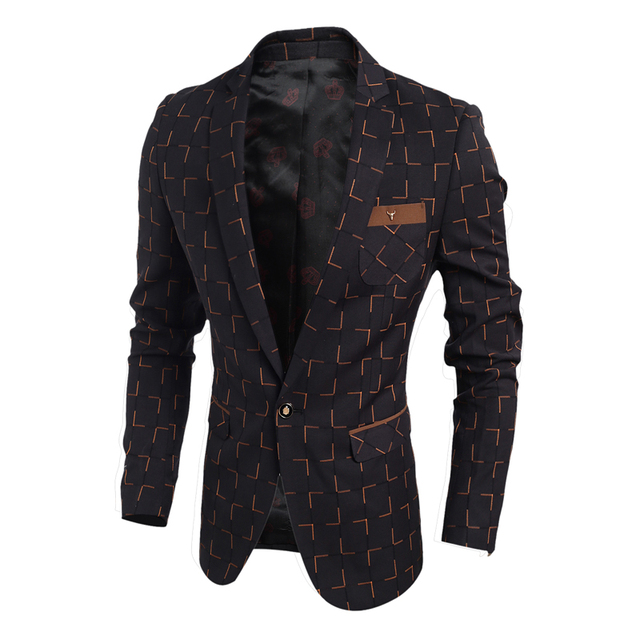 2016 Spring New men's fashion casual Slim Fit  checkered suit jacket  tide Men's brand   high quality suits jackets coat