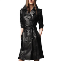 2017 Autumn Winter Women S Leather Jacket Plus Size Double Breasted Long Trench Coat Female BLACK
