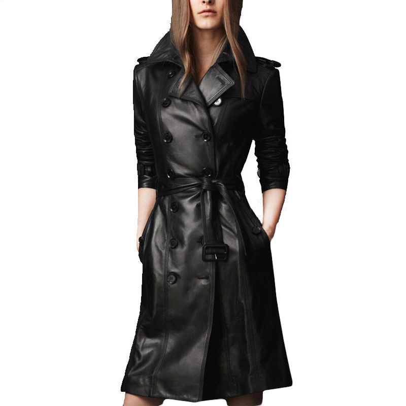 2017 Autumn Winter Women's Leather Jacket Plus Size Double-breasted Long Trench Coat Female BLACK PU Faux Leather Jacket L701