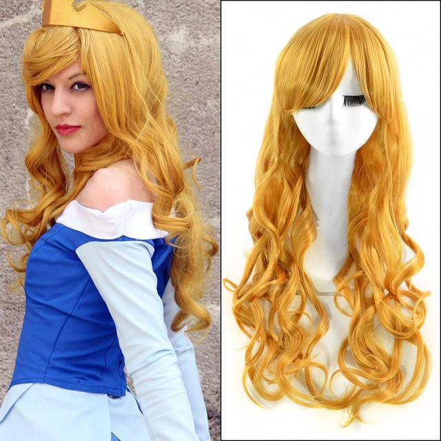 80cm Gold Long Wavy Anime Sleeping Beauty Aurora Cosplay Harajuku