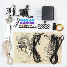 Nyeste 1 Set Professional Body Tattoo Machine Strømforsyning Tattooutstyr Tattoo Kit For Tattoo Begynner Gratis frakt
