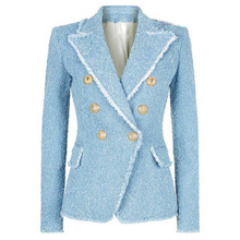 Sky Blue Women Work Office Designer Blazer Fashion Casual Double Breasted Buttons Tassel Fringe