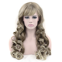 Soowee Synthetic Hair Long Wavy Brown Mixed Blonde Color Cosplay Wigs Party Hair Wig Headwear Hair