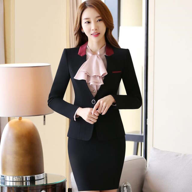 883c274546b placeholder OL work wear female set fashion long sleeve beautiful blazer  with skirt plus size office ladies