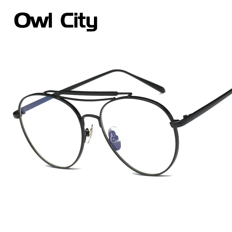 Fashion Women Eyeglasses Brand Designer Pilot Oversized Alloy Frame Anti-blue ray Lens Glasses Unisex Eyeglasses Frames For Man