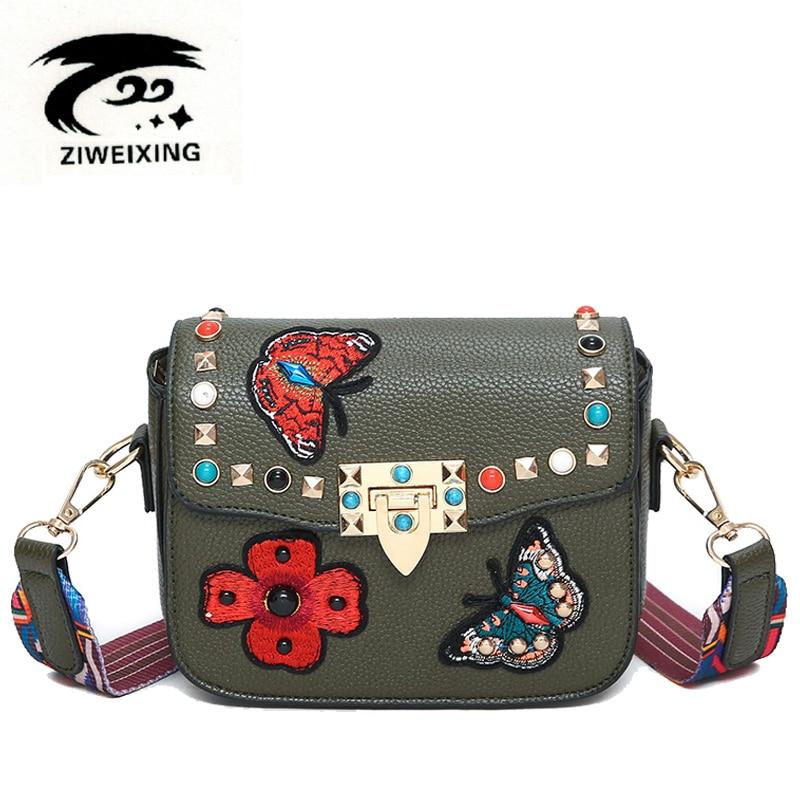 2017 Rivet Butterfly Flower Embroidery Women Messenger Bags Crossbody Bag Brands Designer Flap Bag Woman Leather Small Handbags