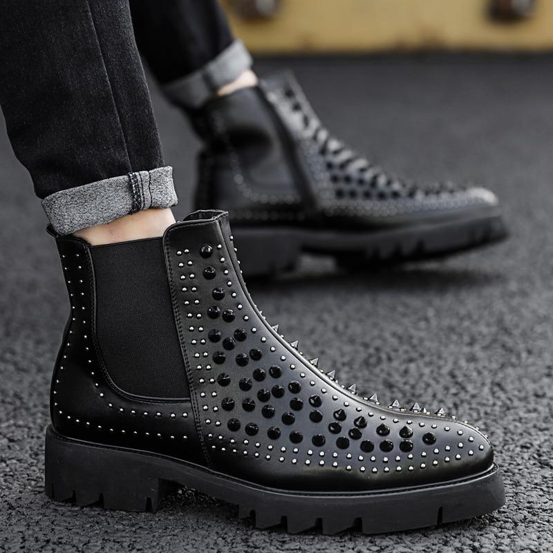 انكلترا العلامة التجارية تصميم رجل عارضة جلد طبيعي المسامير أحذية أسود مرحلة ملهى ليلي ارتداء منصة دراجة نارية الكاحل تشيلسي الأحذية-في أحذية تشيلسي من أحذية على  مجموعة 1