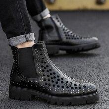 England ยี่ห้อ mens casual ของแท้หนัง rivets รองเท้าสีดำเวทีไนท์คลับสวมใส่แพลตฟอร์มข้อเท้ารถจักรยานยนต์รองเท้าเชลซี