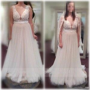 Image 3 - Decote de tule de colher macia applique sem mangas vestido de noiva com uma ilusão de cinto botão traseiro trem varredura vestido de noiva