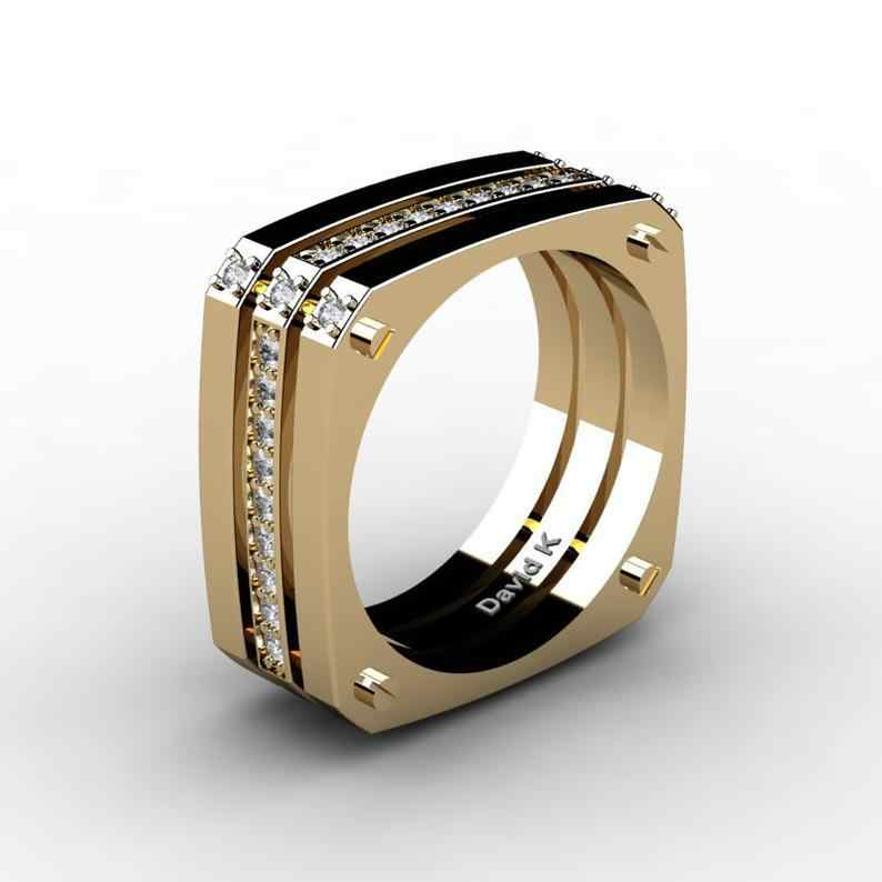 Men's Punk Square Large Gold Ring Three Layers Meteorite Ring