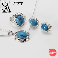 SILVER AGELESS 925 Sterling Silver Turquoise Round Necklace/Stud Earrings/Rings Jewelry Set for Woman 925 Silver Sets Two Series