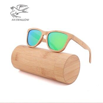 Lunettes de soleil mode bambou hommes rétro classique polarisé TAC lentille UV400 lunettes de soleil à rayonnement neuf фото