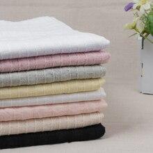 145 X50cm Thin Strip Solid Color Jacquard Treatment Cotton Linen Cloth Slub Soft Fabric Diy Dress Robes Clothing Handmade 140g/m