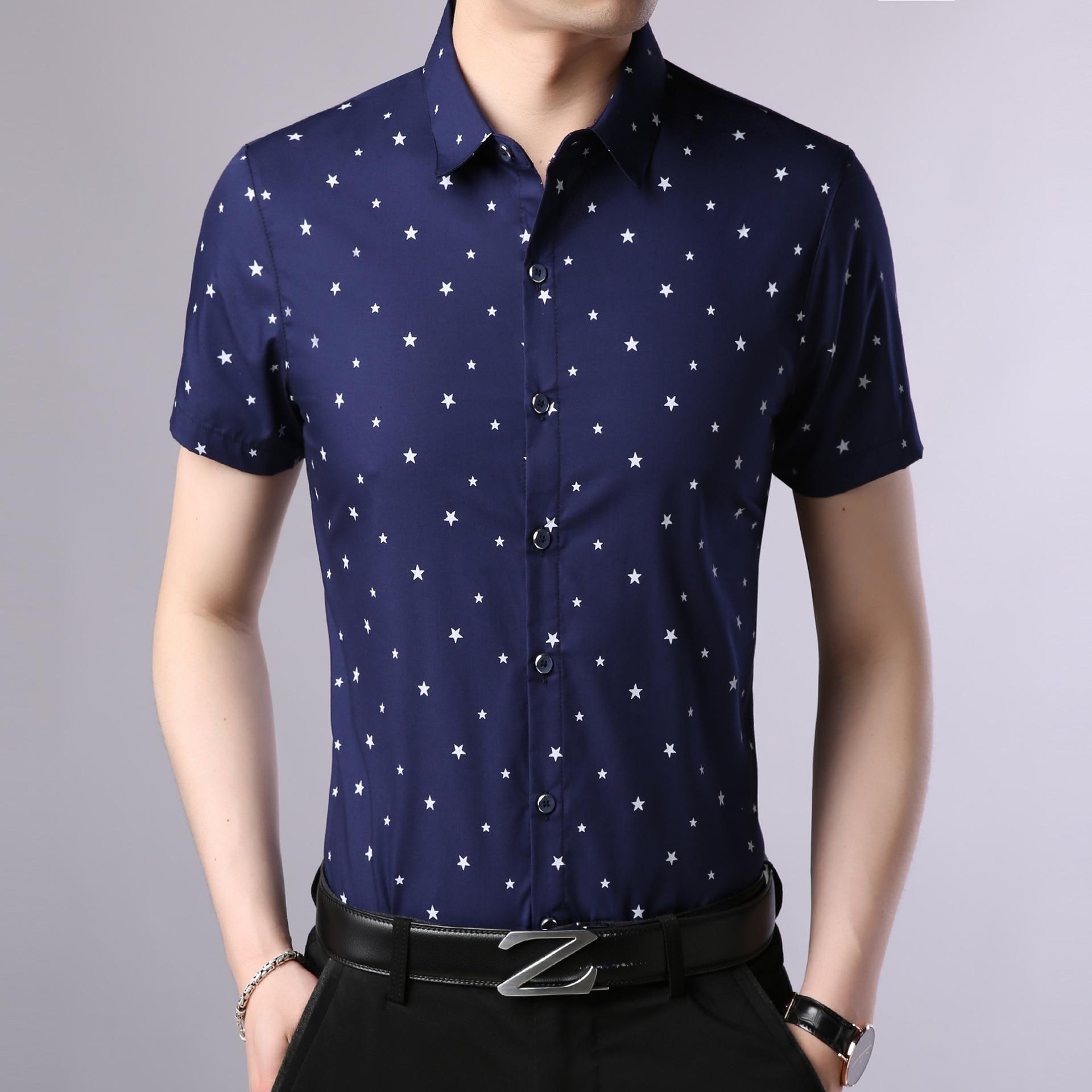 Camisas Para Hombre 2018 Fashion Brand Cotton Blend Mens Shirts Casual Slim Fit Short Sleeve Chemise Homme Star Print Shirt Men