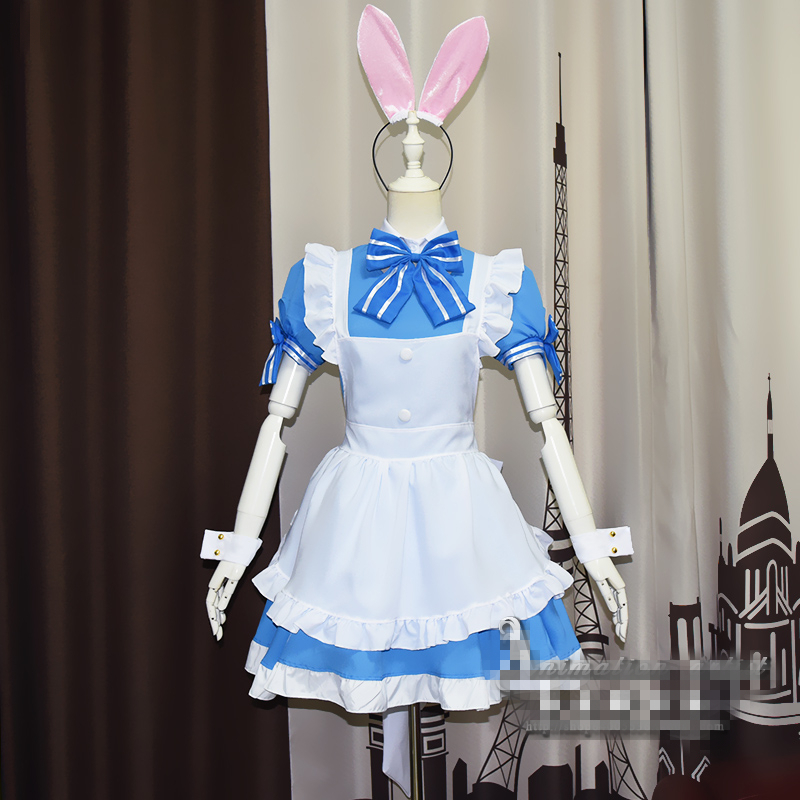 Hot Sale Anime Cos Kafuu Chino Girl Lolita Cosplay Costume Dress White Color Alice Style Maid Outfit