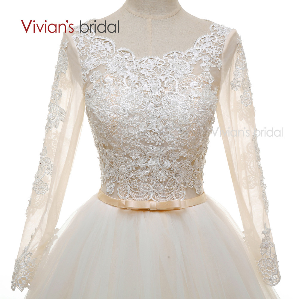 Long Sleeves Beads Lace Champagne Wedding Dresses (8)
