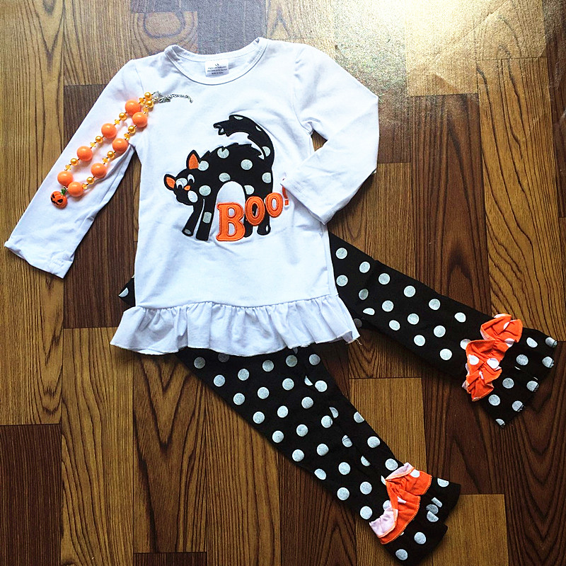 2017 new hot sale baby girls cat outfit halloween baby kids boutique baby girl kid halloween outfits sets with matching necklace