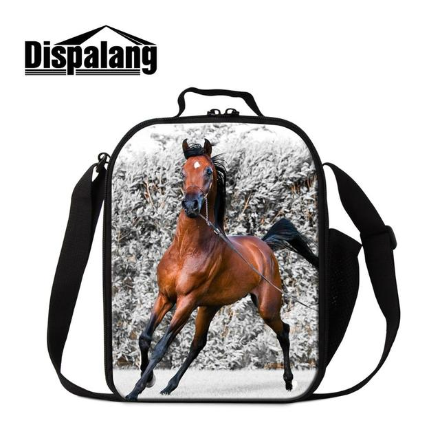 Dispalang Cool Horse Printed Lunch Bags for Boys Fashion Insulated Cooler Bag Animal Pattern Meal Bag for Girls